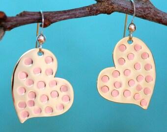Heart Earrings, Sterling Silver and Brass Heart Earrings, Heart Dangle Earrings, Tricolor Heart Earrings, Hammered Earrings, Silver Earrings
