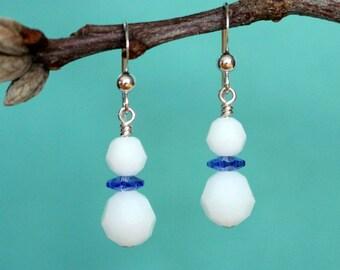 Snowman Earrings, Christmas Earrings, Swarovski Crystal Earrings, Sterling Silver Earrings, Holiday Earrings, Winter Earrings, Dangle