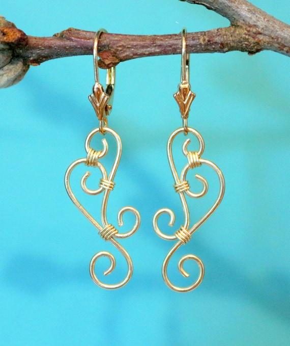 14K Solid Gold Earrings 14K Yellow Gold Filigree Earrings | Etsy