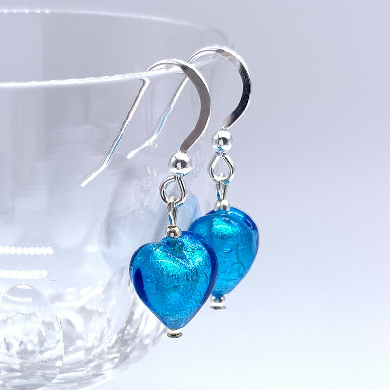 Diana Ingram turquoise 10mm drop earrings on silver or gold ear wires. blue Murano glass mini sphere