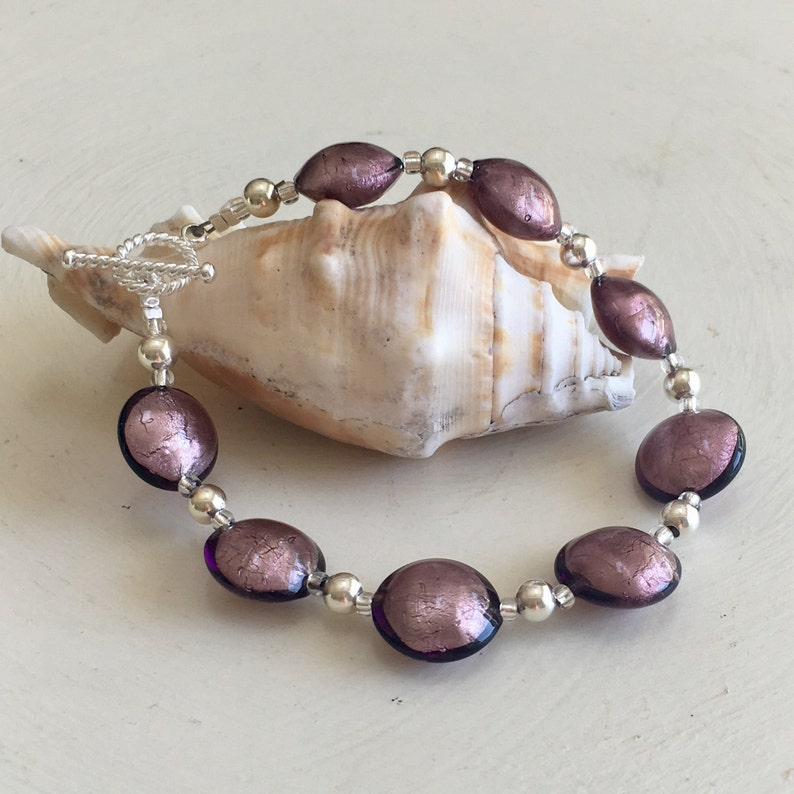 lentil /'smartie/' beads purple /& toggle clasp. Diana Ingram Murano glass bracelet with dark amethyst on 925 Silver beads 5mm 14mm