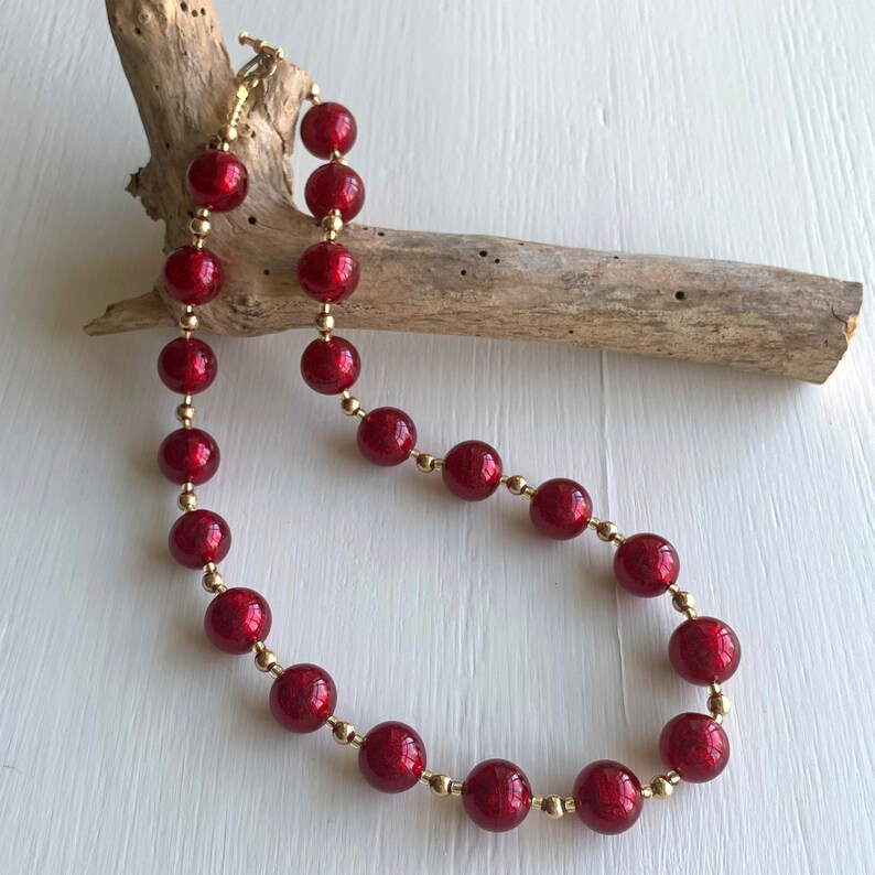 Diana Ingram necklace with red Murano glass sphere beads on 22 Carat gold vermeil sphere beads and clasp