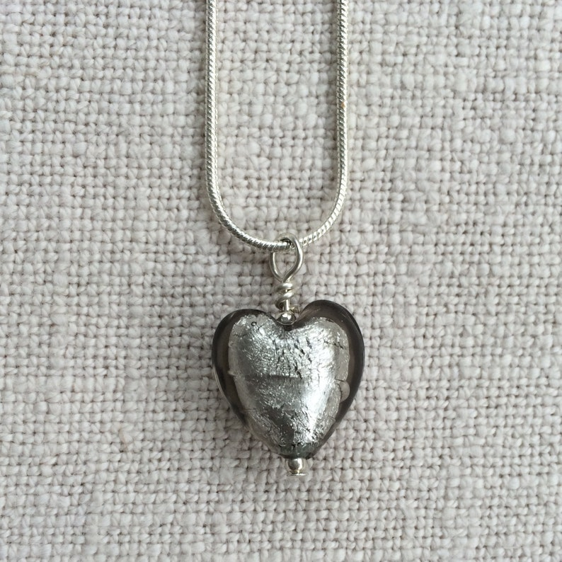 13mm on 925 Sterling Silver snake chain. Diana Ingram necklace with yellow pastel Murano glass small heart pendant