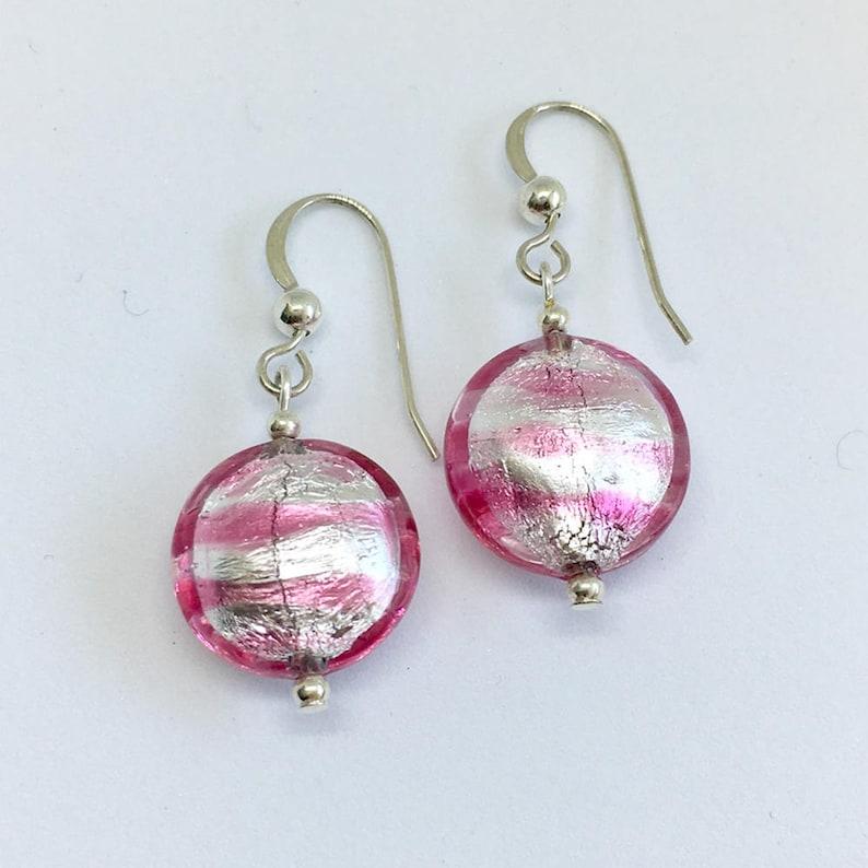 Diana Ingram earrings with purple velvet and white gold Murano glass medium pear drops on Sterling Silver or 22 Carat gold vermeil hooks