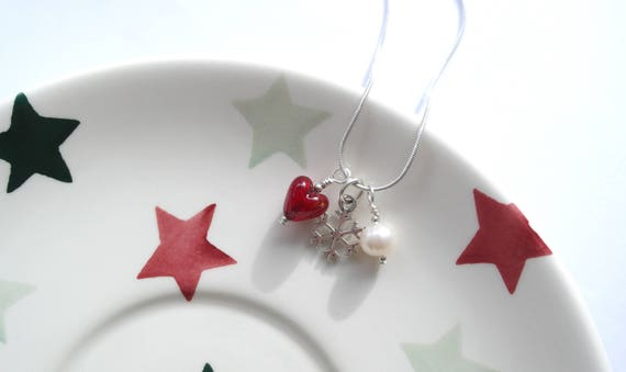 10mm Diana Ingram three charm necklace with red silver star /& white freshwater pearl on Sterling Silver chain. it. rosso Murano glass mini heart