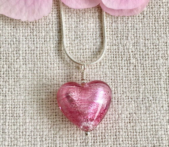Diana Ingram necklace with red Murano glass medium heart pendant on Sterling Silver snake chain