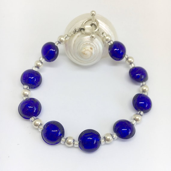5mm /& toggle clasp. 10mm Blue Diana Ingram Murano glass bracelet with turquoise lentil /'smartie/' beads on 925 Sterling Silver beads