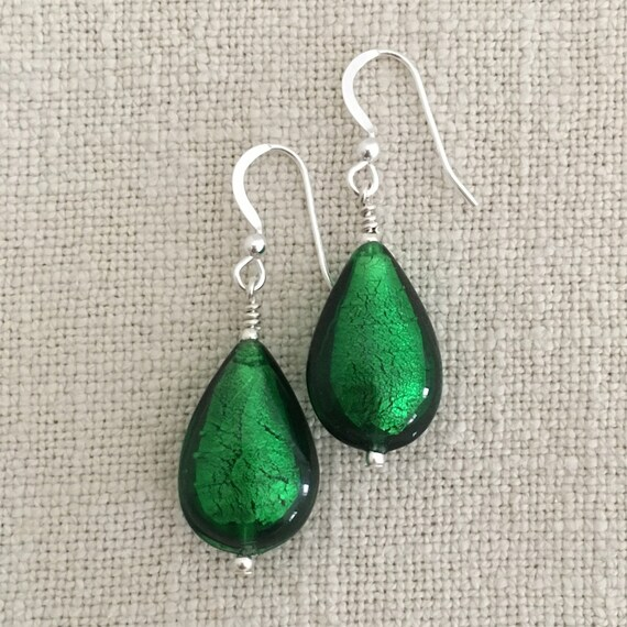 Diana Ingram earrings with black pastel Murano glass long pear drops on Sterling Silver or gold vermeil hooks