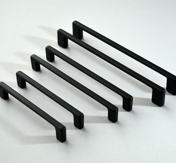Set Of 6 Modern Black Cabinet Pull, Modern Black Handles For Kitchen Cabinets