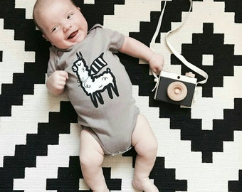 "Organic cotton unisex ""Super Llama"" baby onesie monochrome minimal bodysuit gender neutral"