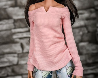 Slit tunic for bjd 1/3 scale doll like Smart Doll pink