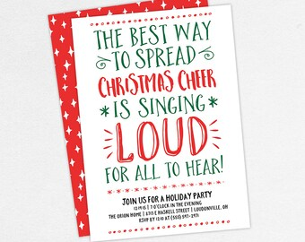 Adult Christmas Party Invitation Funny Holiday Etsy