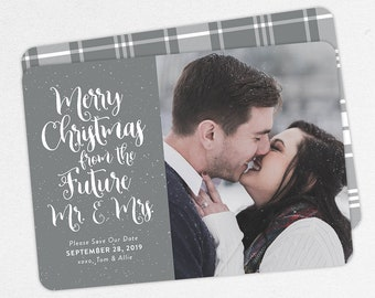 Christmas Save the Dates, Merry Christmas from the Future Mr and Mrs Cards, Printable Christmas Save the Date, Photo Christmas Save the Date