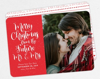 Merry Christmas from the Future Mr and Mrs, Christmas Save the Dates, Holiday Save the Dates, Printable Christmas Save the Date, Printed