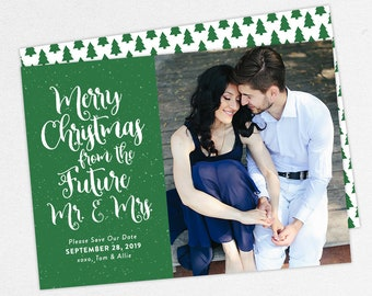 Holiday Save the Dates, Merry Christmas from the Future Mr and Mrs, Printable Christmas Save the Date, Printed Christmas Save the Dates, PDF