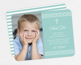 Photo Communion Thank You Cards, First Communion Thank You Cards, Communion Thank You Cards, Printable Communion Thank You Cards, Boy, PDF