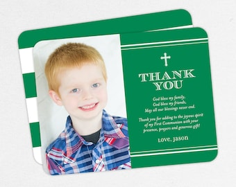 First Communion Thank You Cards, Photo Communion Thank You Cards, Green Communion Thank You Cards, Printable Communion Thank You Cards, PDF