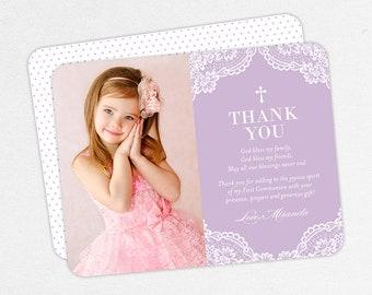 Lace Communion Thank You Cards, Purple Communion Thank You Cards, Communion Photo Thank You Cards, Printable Communion Thank Yous, 5x7, 4x6