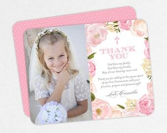 Pink Communion Thank You Cards, Communion Photo Thank You Cards, First Communion Thank You Cards, Printable Communion Thank You, Printed