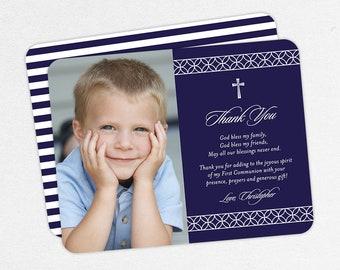 Navy, Communion Thank You Cards, Photo Communion Thank You Cards, First Communion Thank You Cards, Printable Communion Thank You Cards, Boy