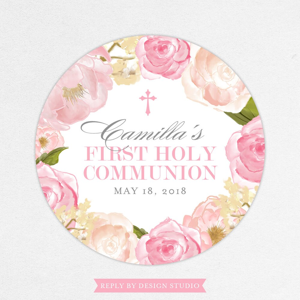 First Communion Favor Labels Stickers Etsy Luggage Tag Hk Love Pink Printed Holy Girl Camilla