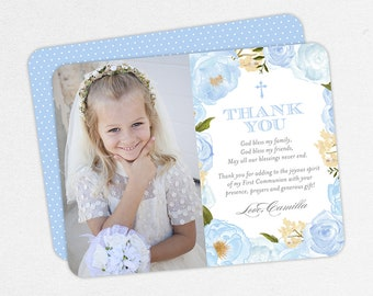 Communion Thank You Cards with Photo, Communion Thank You Cards, First Communion Thank You Cards, Printable Communion Thank You, Blue, PDF