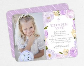 Purple Communion Thank You Cards, Communion Photo Thank You Cards, First Communion Thank You Cards, Printable Communion Thank You, Printed