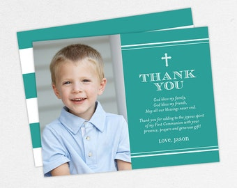 Photo Communion Thank You Cards, First Communion Thank You Cards, Communion Thank You Cards, Printable Communion Thank You Cards, PDF, Teal