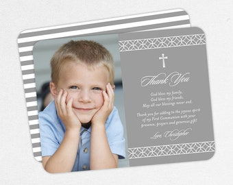 First Communion Thank You Cards, Photo Communion Thank You Cards, Communion Thank You Cards, Printable Communion Thank You Cards, Boy, PDF