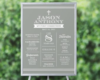 First Communion Sign, First Communion Poster, Boy Communion Sign, Gray Communion Poster, Silver Communion Poster, Printable Communion Poster