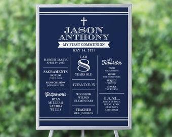 First Communion Poster, My First Communion Poster, Boy Communion Poster, Navy Communion Posters, Printable Communion Posters, PDF