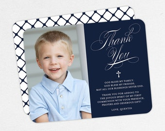 Navy Communion Thank You Cards, Photo Communion Thank You Cards, First Communion Thank You Cards, Printable, Boy Communion Thank You Cards