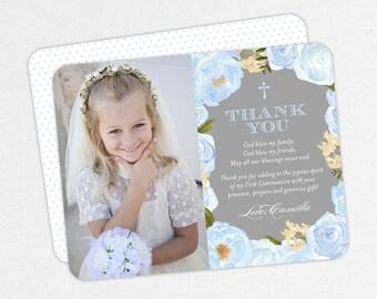 Blue Communion Thank You Cards, Communion Thank You Cards, First Communion Thank You Cards, Printable Communion Thank You, PDF, 5x7, 4x6