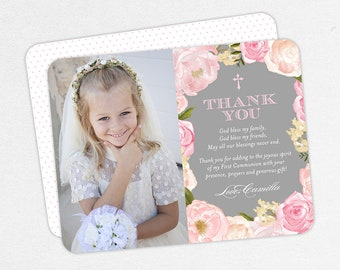 First Communion Thank You with Photo, Printable Communion Thank You, Communion Thank You PDF, Pink and Gray Communion Thank You, 4x6, 5x7