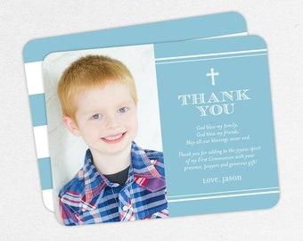 Blue Communion Thank You Cards, Photo Communion Thank You Cards, First Communion Thank You Cards, Printable, Boy Communion Thank You Cards