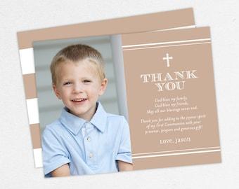 Communion Thank You Cards, Photo Communion Thank You Cards, First Communion Thank You Cards, Printable, Boy Communion Thank You Cards, Brown