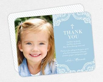 Girl Communion Thank You Cards, Lace Communion Thank You Cards, Communion Photo Thank You Cards, Printable Communion Thank Yous, 5x7, 4x6