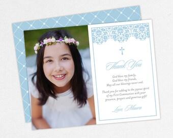 Lace Communion Thank You Cards, Blue Communion Thank You Cards, Communion Photo Thank You Cards, Printable Communion Thank Yous, Damask, PDF