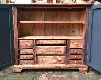NOW SOLD ***** Quirky Hand Painted Rustic Cupboard/Cabinet, Chest of Eleven Drawers, Storage