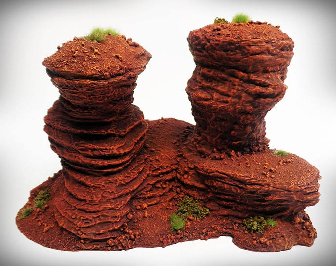 Wargame Terrain - Double Spire B – UNPAINTED kit - Miniature Wargaming & RPG rock formation terrain