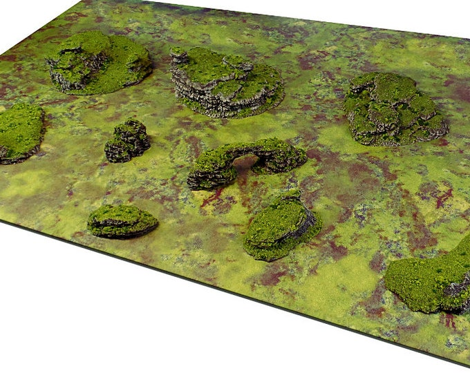 "Wargame Terrain - Dynamic Hills - ""Broken Ground"" Deluxe Bundle terrain set - 10 pieces - CUSTOMIZABLE"