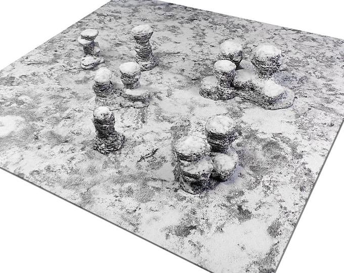 "Wargame Terrain - Spires & Plateaus - ""Ice and Snow"" Starter Bundle terrain set - 6 pieces - CUSTOMIZABLE"