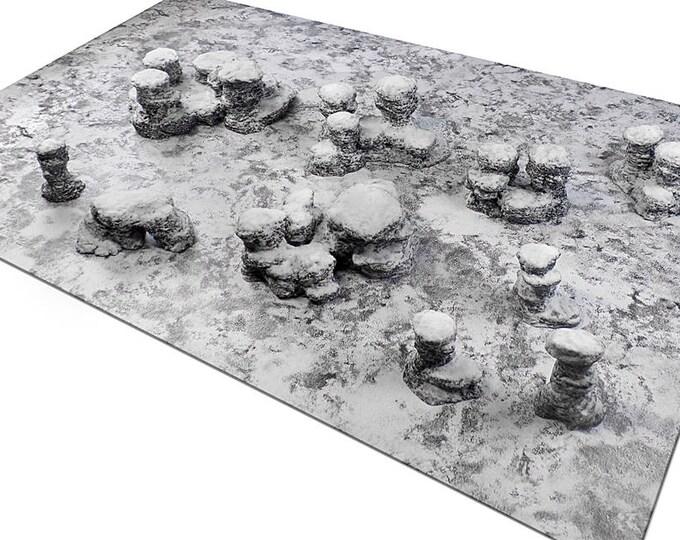 "Wargame Terrain - Spires & Plateaus - ""Ice and Snow"" Deluxe Bundle terrain set - 10 pieces - CUSTOMIZABLE"