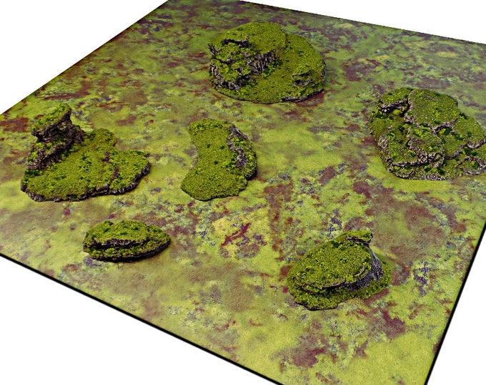 "Wargame Terrain - Dynamic Hills - ""Broken Ground"" Starter Bundle terrain set - 6 pieces - CUSTOMIZABLE"