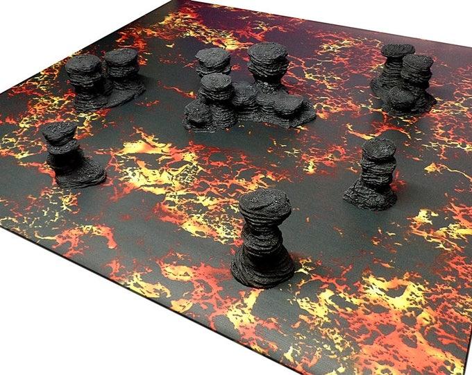 "Wargame Terrain - Spires & Plateaus - ""Ash"" Starter Bundle terrain set - 6 pieces - CUSTOMIZABLE"