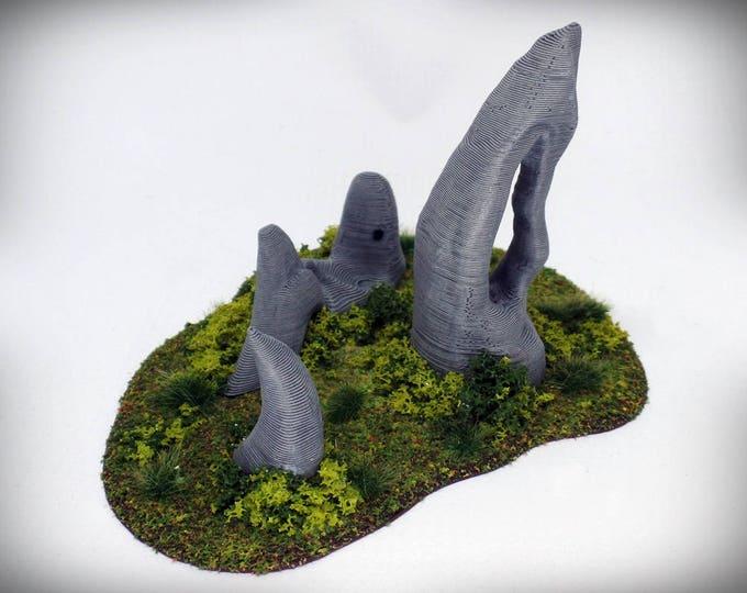 "Wargame Terrain - Standing Stone Cluster (""Ghost Stones"") – UNPAINTED kit - Miniature Wargaming & RPG terrain"