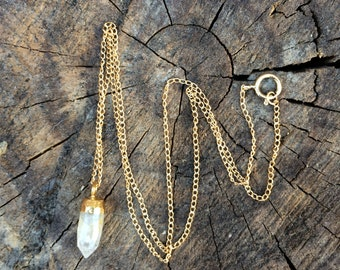 Gorgeous delicate petite gold rutilated quartz spike necklace