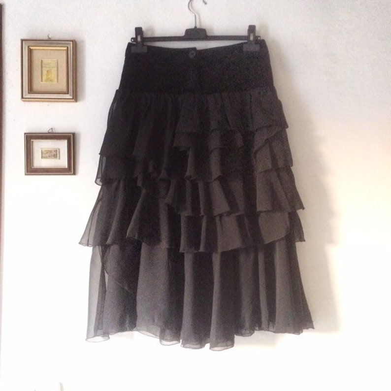 Black skirt with ruffles