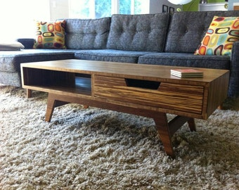 Retro Mid-Century Modern Style Bamboo Coffee Table