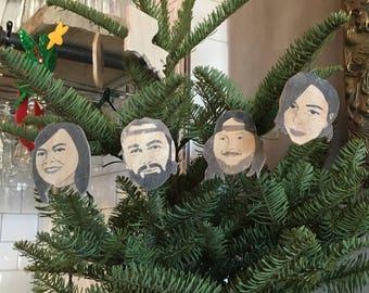 Four Customized Portrait Ornaments